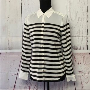 WHBM Classy Silk Black and White Striped Blouse
